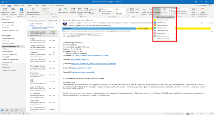 Quitar categorías de Outlook - Instituto Galego de Formación