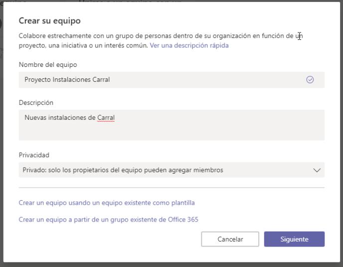 Crear un equipo en Microsoft Teams - Instituto Galego de Formación