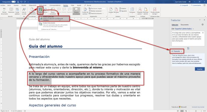 Como traducir texto en Word - Instituto galego de Formación