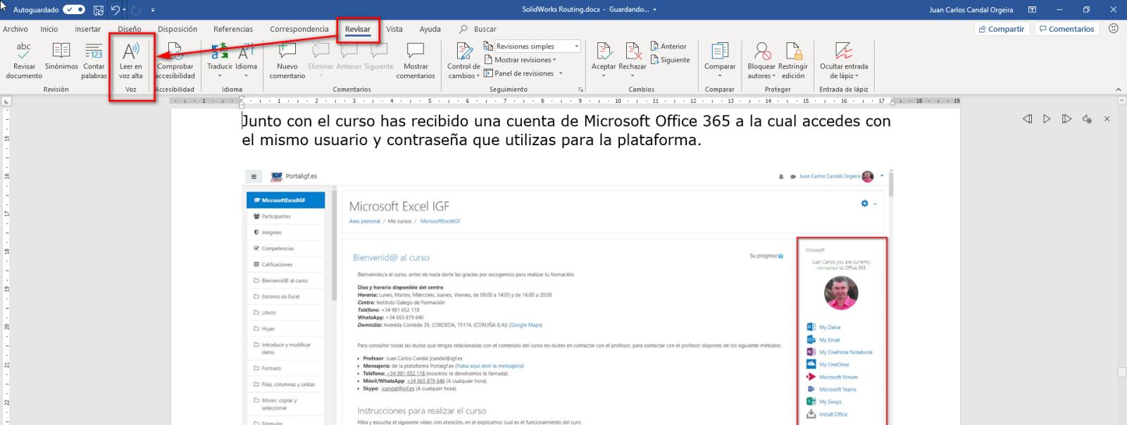 Leer en voz alta en Word - Instituto Galego de Formación