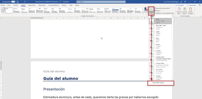 Personalizar fuentes - Instituto Galego de Formación