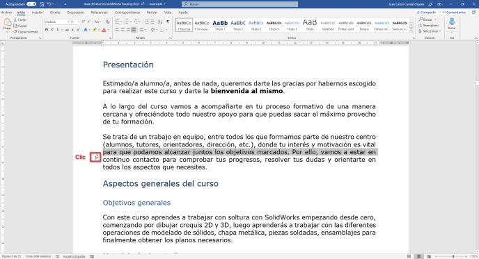 Un solo clic en Word - Instituto Galego de Formación