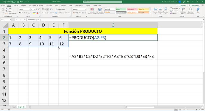 Función PRODUCTO de Excel - Instituto Galego de Formación