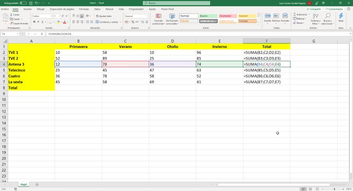 Función SUMA de Excel con referencias - Instituto Galego de Formación