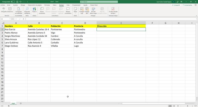 Relleno rápido en Excel paso 1 - Instituto Galego de Formación