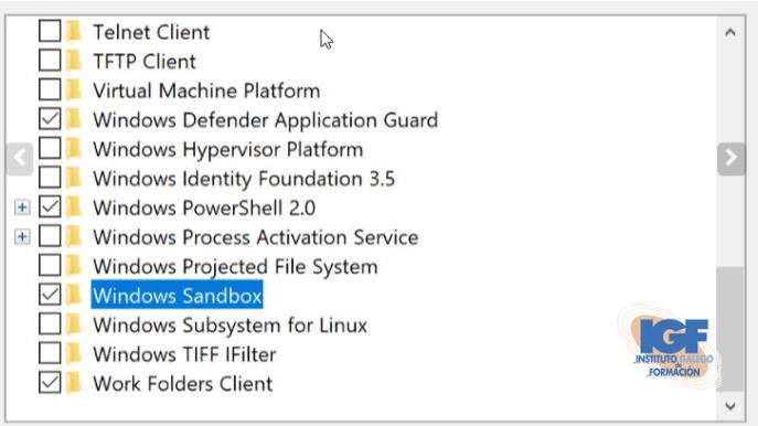 Activar Windows Sandbox - igf.es