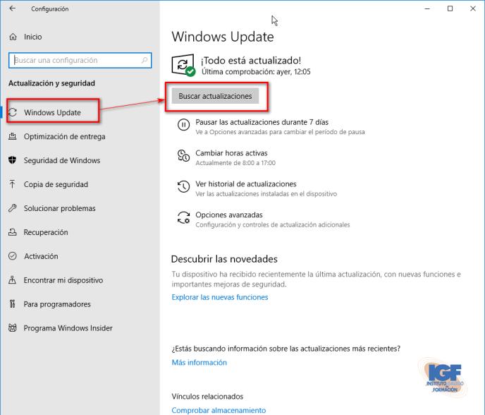 Actualización para Windows 10, versión 1903 Windows update- igf.es