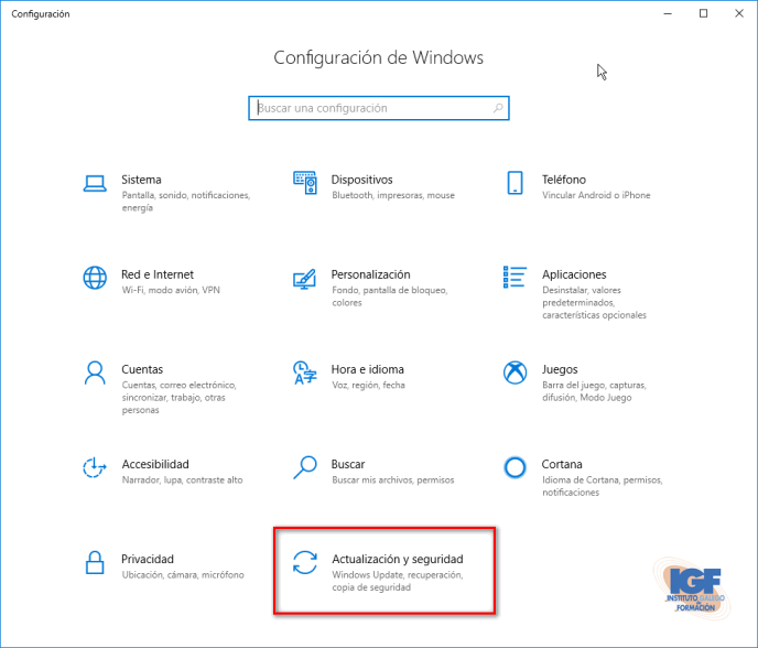 Actualización para Windows 10, versión 1903 actualización y seguridad - igf.es