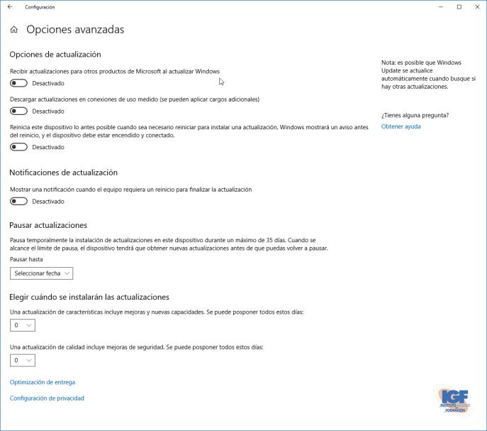 Configurar las actualizaciones de Windows 10 opciones avanzadas - igf.es