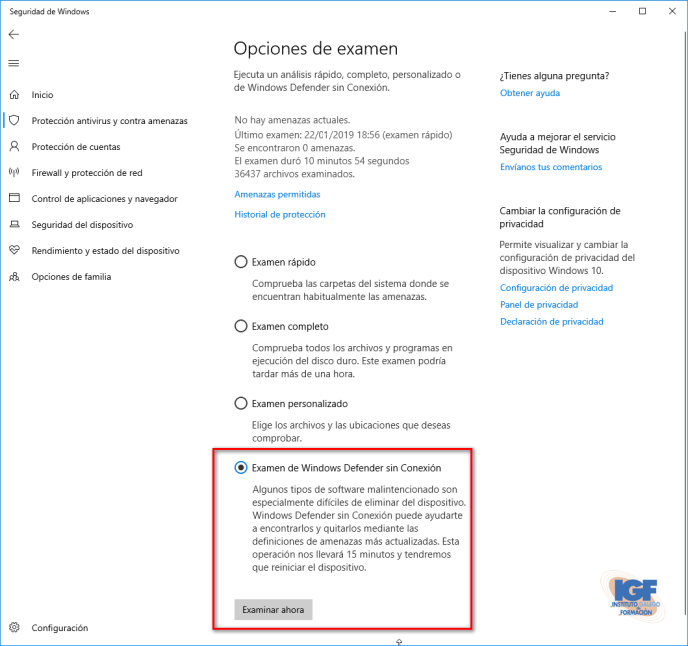 Examen de Windows defender sin conexión - igf.es