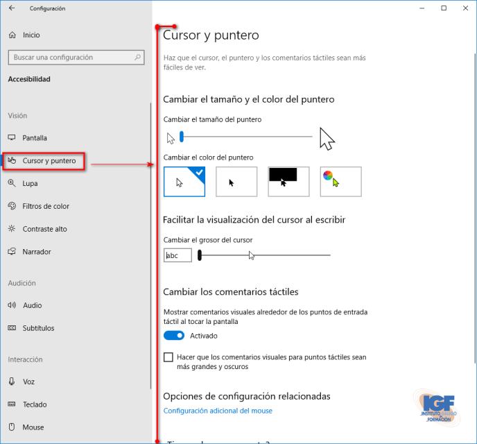Personalización del puntero en Windows 10 versión 1903 - igf.es