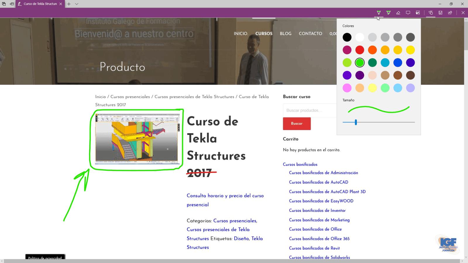 Agregar notas en una página web