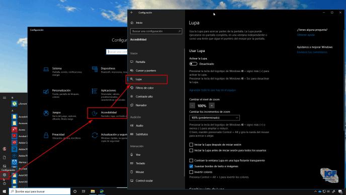 Iniciar la lupa en Windows 10 menú de inicio