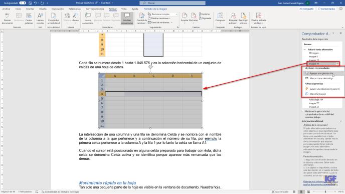 Comprobar la accesibilidad en tus documentos agregar texto alternativo - igf.es