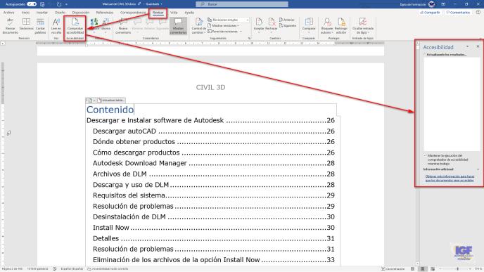 comprobar la accesibilidad en Microsoft Word - igf.es