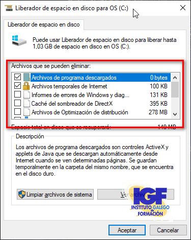 Liberador de espacio en Windows 10