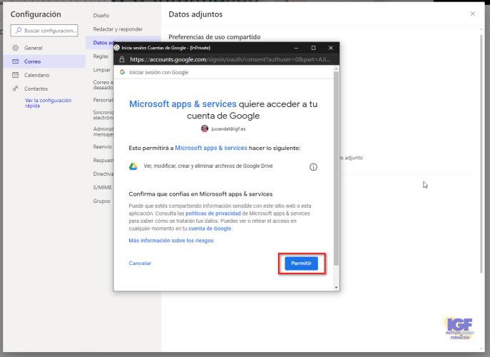 Conectar google drive a OWA - igf.es