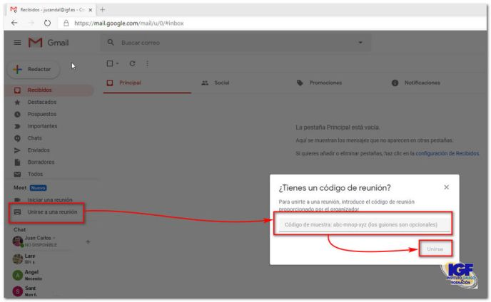 Google Meet en Gmail - igf.es