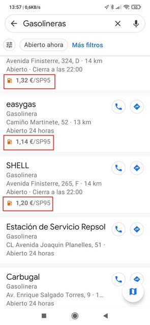 Lista de gasolineras con precios - igf.es