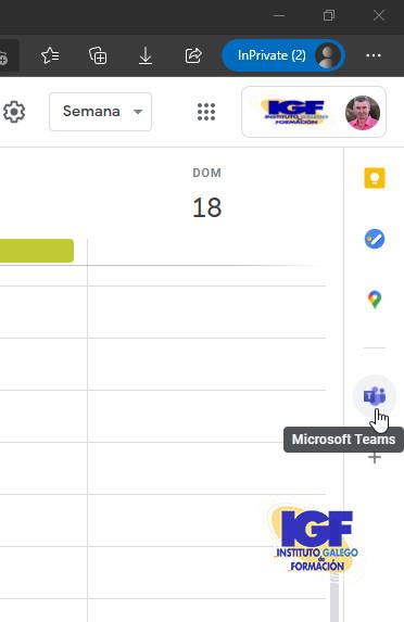 Microsoft Teams en el calendario de Gmail