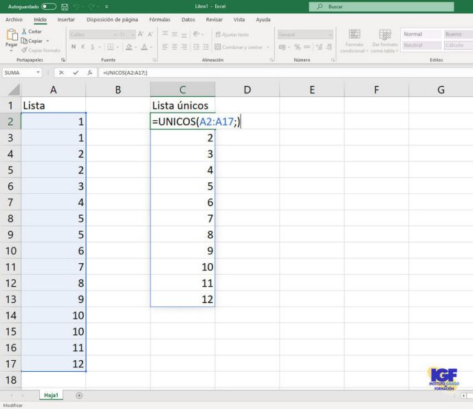 Función unicos de Microsoft Excel - igf.es
