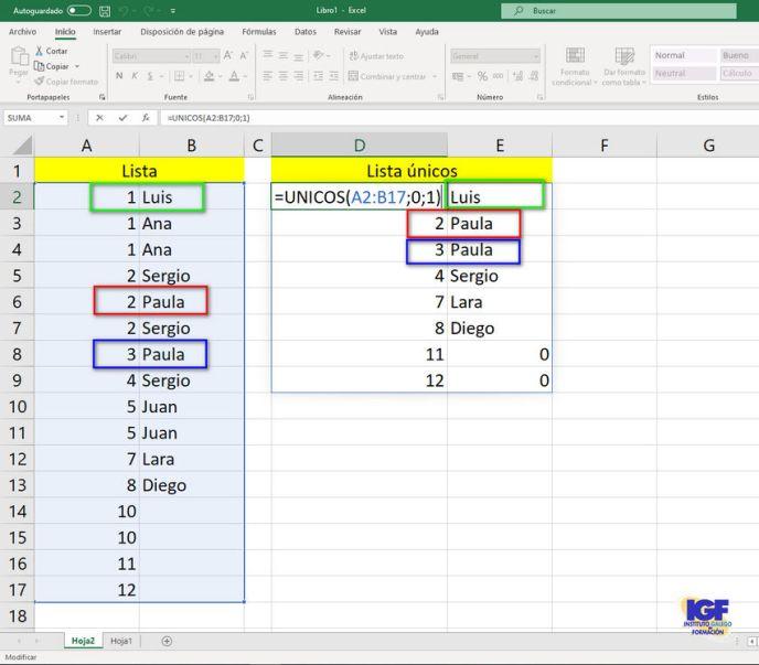 Función unicos de Excel 365 - igf.es
