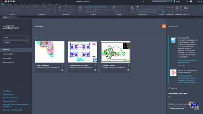 Novedades AutoCAD 2022 pantalla de inicio - igf.es