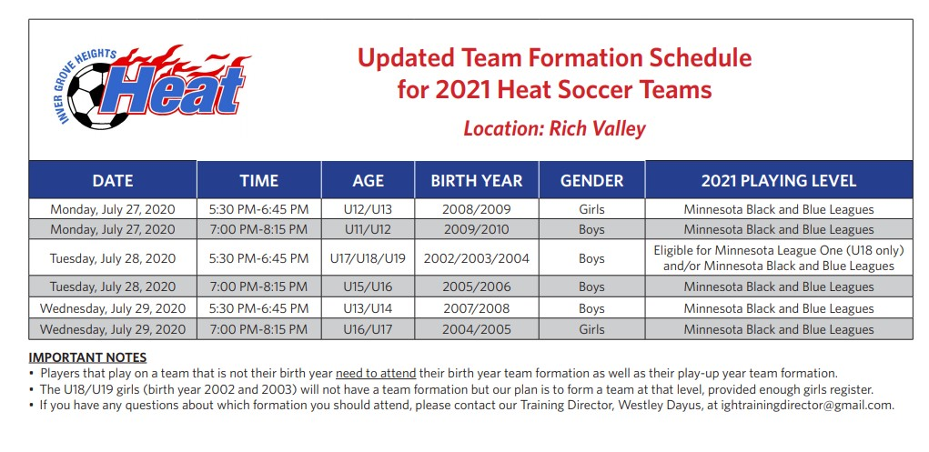 HEAT 2021 TRYOUT SCHEDULE UPDATED