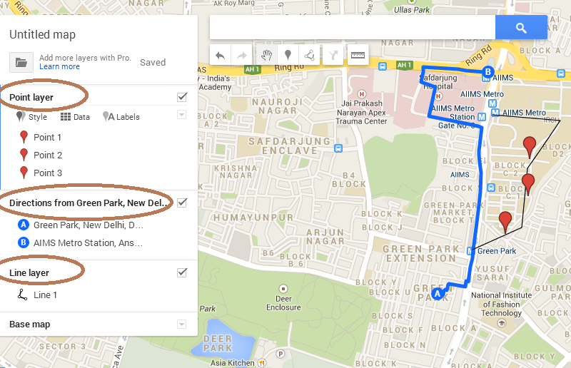 save export and kml file from google map