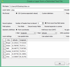 Upload Excel latitude longitude in QGIS as Spatial Layer