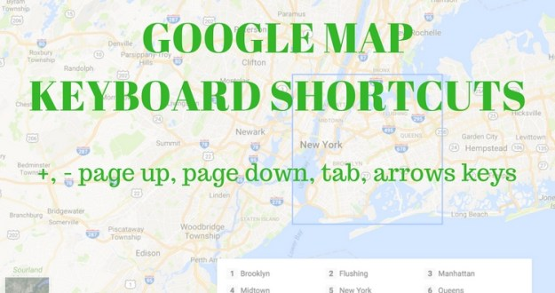 Google map new Keyboard Navigation Controls Shortcuts