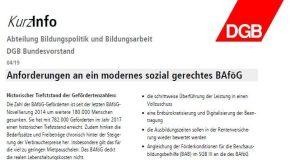 DGB KurzInfo: Anforderungen an ein modernes sozial gerechtes BAföG