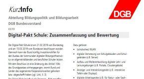 DGB KurzInfo: Digital-Pakt Schule: Zusammenfassung und Bewertung