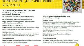 """EINLADUNG zur Preisverleihung Wettbewerb """"Die Gelbe Hand""""  2020/2021"""