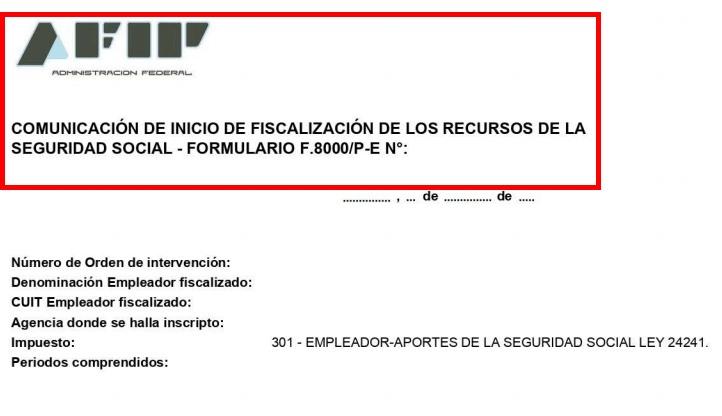 F.8000/P-E - Comunicación de Inicio de Fiscalización
