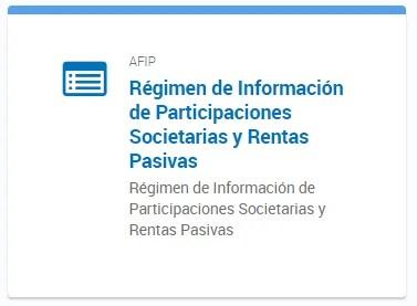 Régimen de Información de Participaciones Societarias y Rentas Pasivas