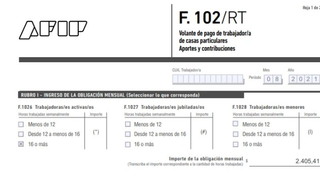 Servicio Doméstico: Formulario 102/RT Agosto 2021 | Actualizado