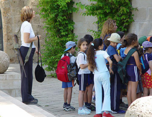 Israeli School Kids with Armed Teacher