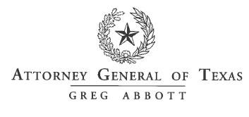 ATTORNEY GENERAL OF TEXAS, GREG ABBOTT