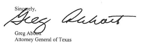 Sincerely, Greg Abbott, Attorney General of Texas
