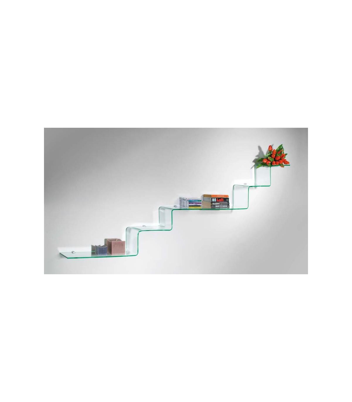 etagere murale en verre serie step par bolis italia