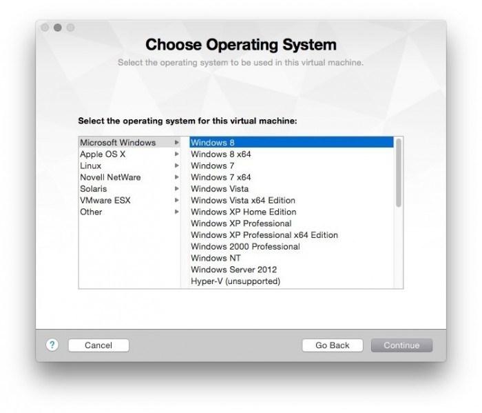 VMware Fusion add new virtual maschine windows 8 10