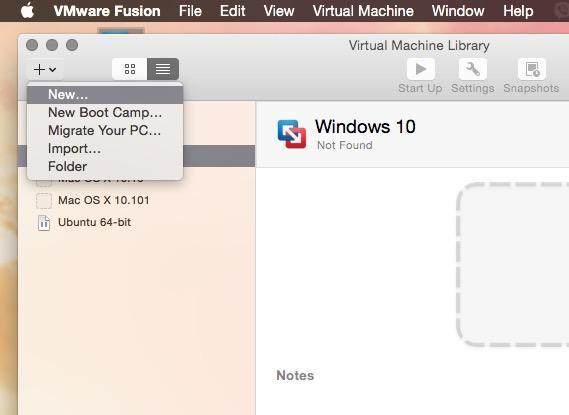 VMware Fusion add new virtual maschine