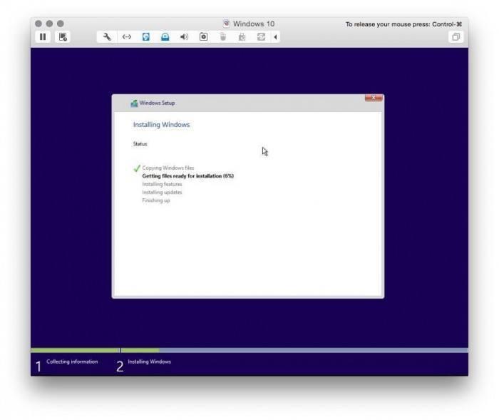 VMware Fusion install windows 10 8