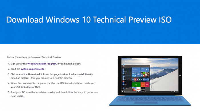 download windows 10 tehnical preview