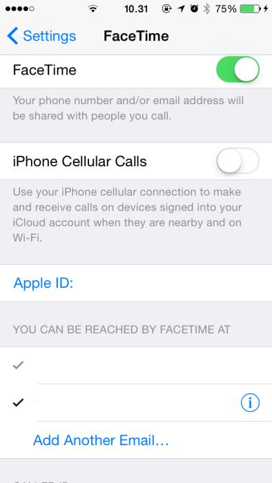 iphone ios 8 facetime settings