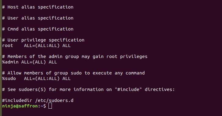 ubuntu sudoer file