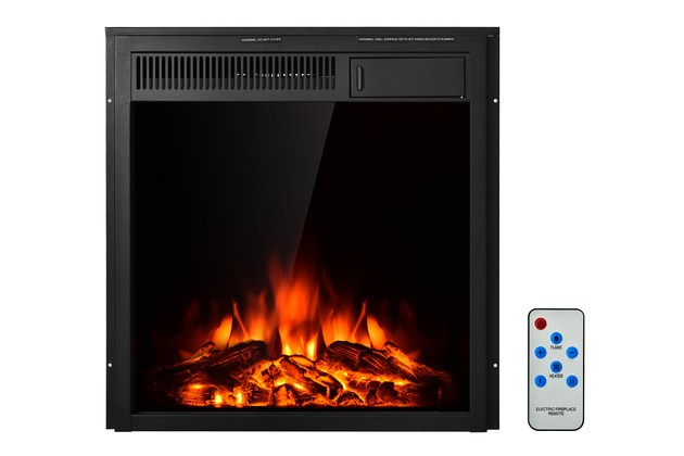 Costway 22.5'' Electric Fireplace Insert Freestanding & Recessed Heater Log Flame Remote – Black for $174