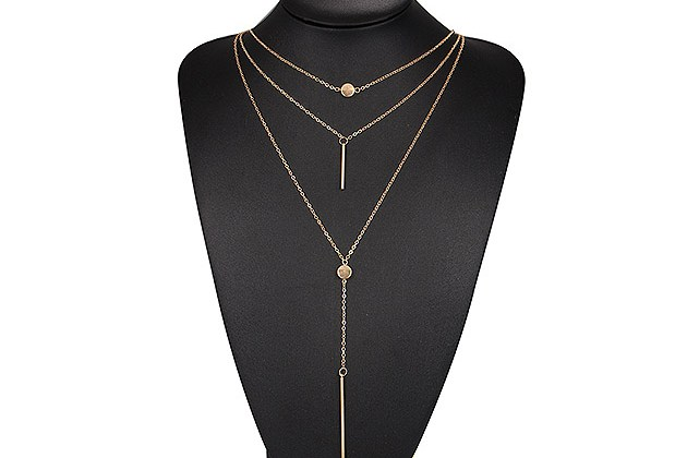 3-Piece Linear Vertical Drop 18K Gold-Plated Necklace for $10