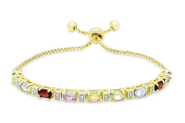 "Colors of the Rainbow Bolo Adjustable 7-9"" 18K Gold Plated Bracelet for $10"
